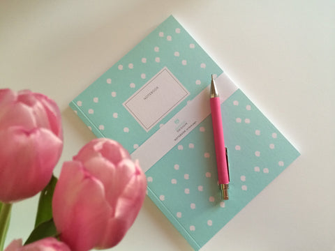 "Notebook Turquoise ""Swirling dots"""