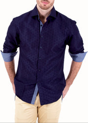 182361 Navy Button Up Long Sleeve Dress Shirt