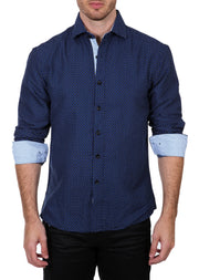 182394 Blue Button Up Long Sleeve Dress Shirt