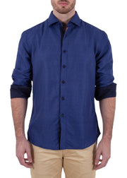 182398 Blue Button Up Long Sleeve Dress Shirt