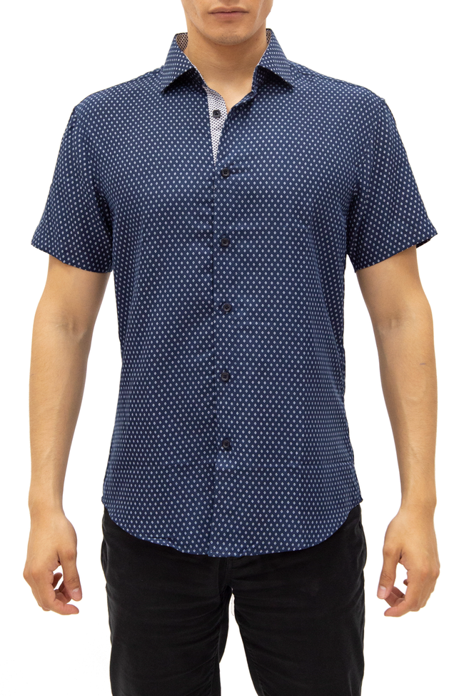 192000 Navy Button Up Short Sleeve Dress Shirt