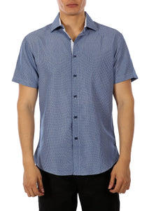 192071 Navy Button Up Short Sleeve Dress Shirt