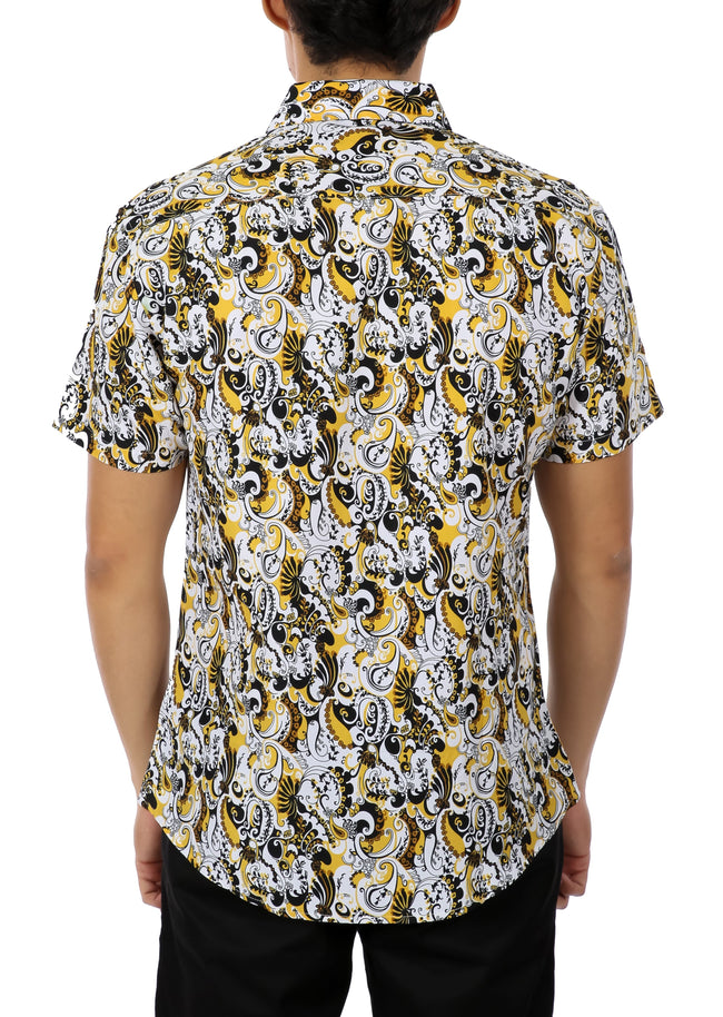 192073 Yellow Button Up Short Sleeve Dress Shirt