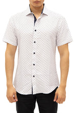 Load image into Gallery viewer, 192080 White Button Up Short Sleeve Dress Shirt