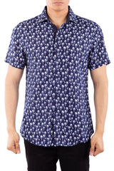 192092 Navy Button Up Short Sleeve Dress Shirt