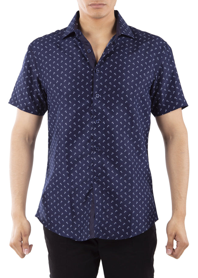 192099 Navy Button Up Short Sleeve Dress Shirt