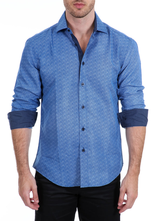 192330 - Blue Button Up Long Sleeve Dress Shirt