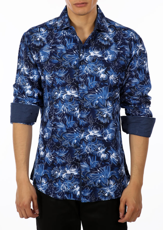 192368 - Blue Button Up Long Sleeve Dress Shirt