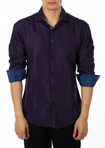 192369 - Purple Button Up Long Sleeve Dress Shirt