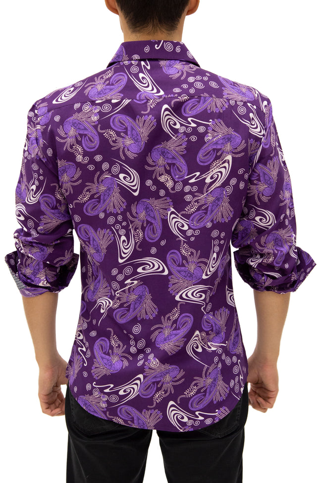 192381 - Purple Abstract Paisley Button Up Long Sleeve Dress Shirt
