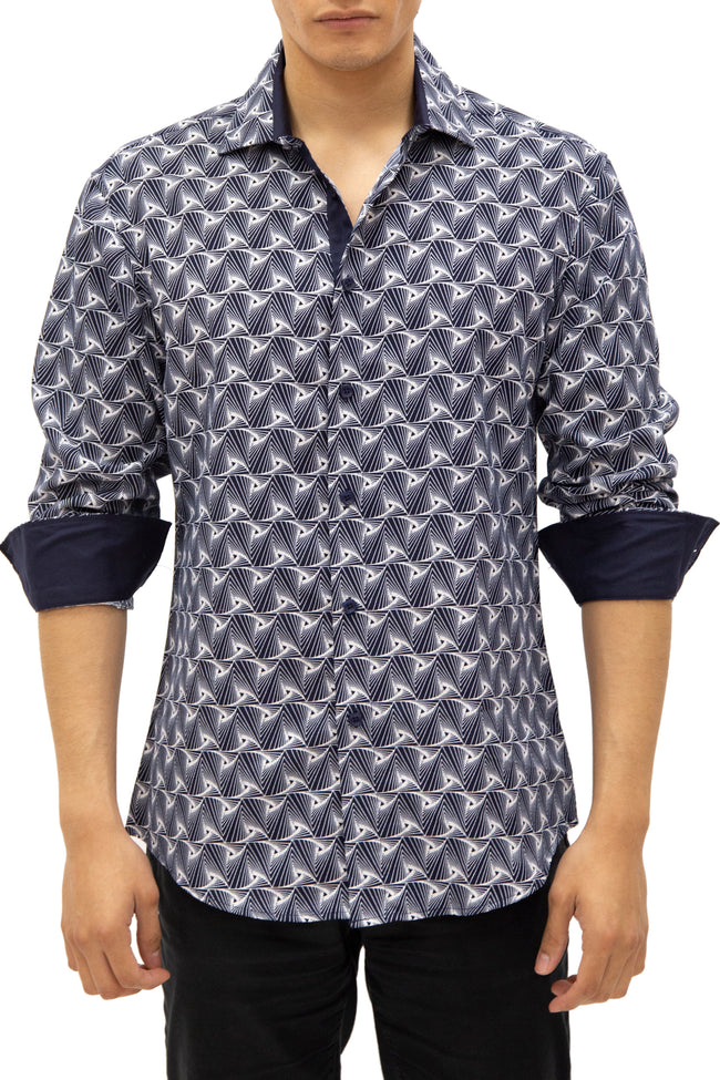 192382 - Navy Button Up Long Sleeve Dress Shirt