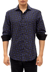 192383 - Navy Button Up Long Sleeve Dress Shirt