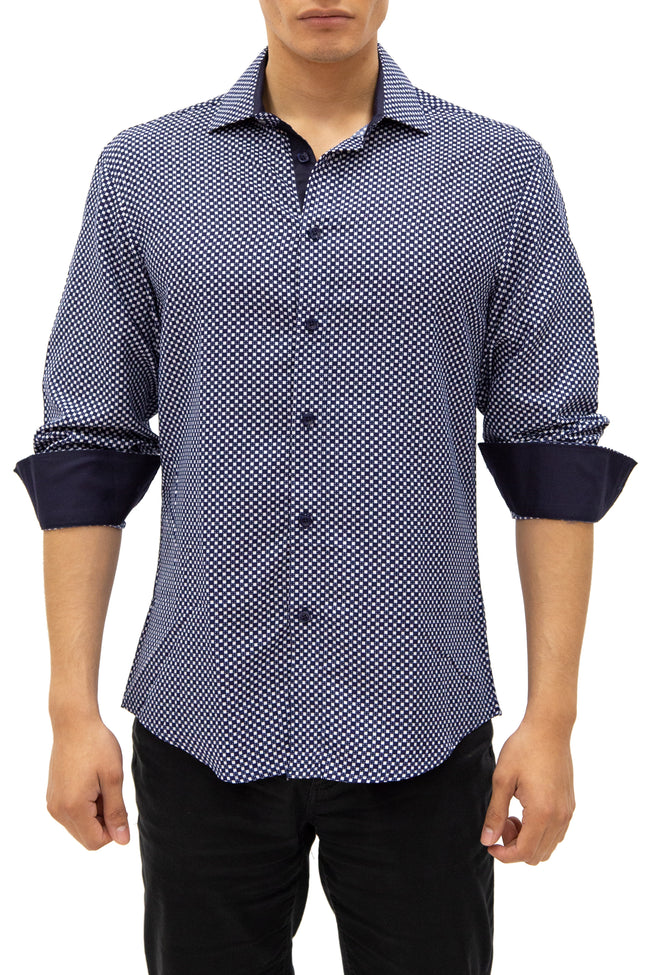 192385 - Navy Button Up Long Sleeve Dress Shirt