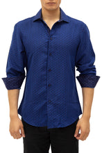 Load image into Gallery viewer, 192389 - Navy Button Up Long Sleeve Dress Shirt