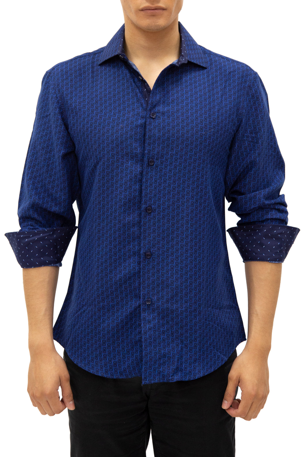 192389 - Navy Button Up Long Sleeve Dress Shirt