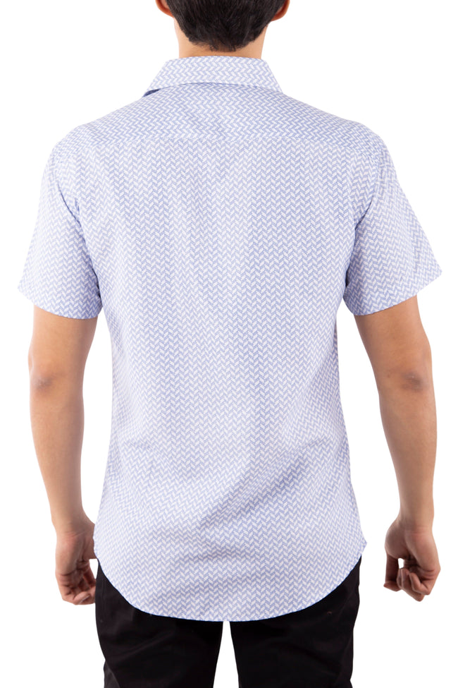 202000 Blue Button Up Short Sleeve Dress Shirt