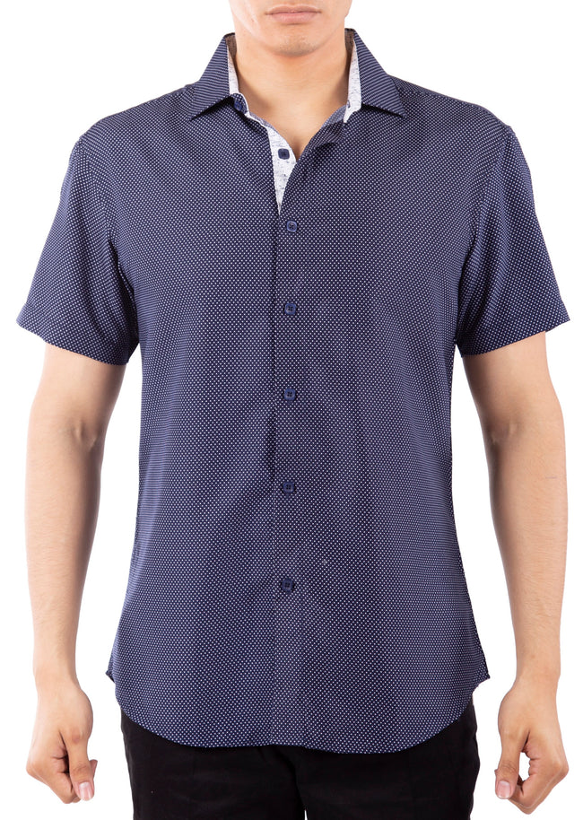 202001 Navy Button Up Short Sleeve Dress Shirt