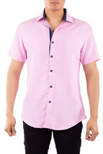 Load image into Gallery viewer, 202006 Pink Button Up Short Sleeve Dress Shirt