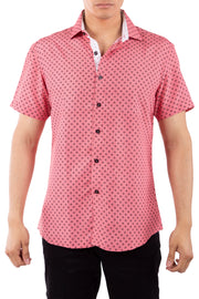 202008 Red Button Up Short Sleeve Dress Shirt
