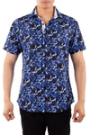 202011 Navy Button Up Short Sleeve Dress Shirt