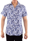 202012 Navy Button Up Short Sleeve Dress Shirt