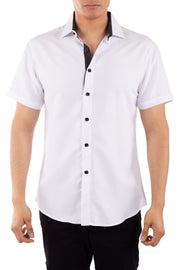 202013 White Button Up Short Sleeve Dress Shirt