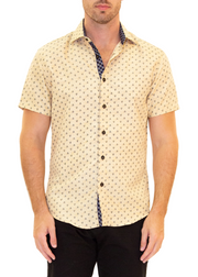 202016 Yellow Button Up Short Sleeve Dress Shirt