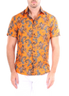 202046 - Orange Paisley Button Up Short Sleeve Dress Shirt