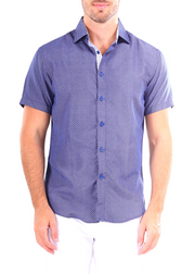202047 - Royal Blue Button Up Short Sleeve Dress Shirt