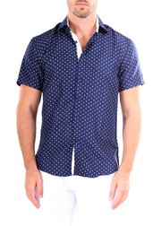 202048 - Navy Button Up Short Sleeve Dress Shirt