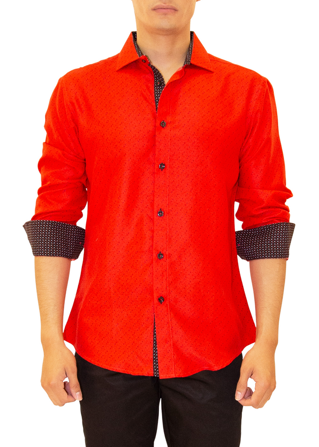 202345 - Red Button Up Long Sleeve Dress Shirt