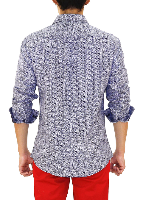 202347 - Navy Button Up Long Sleeve Dress Shirt