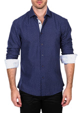 192310 - Navy Button Up Long Sleeve Dress Shirt