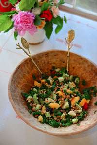 Kale Salad with Pecans and Peaches
