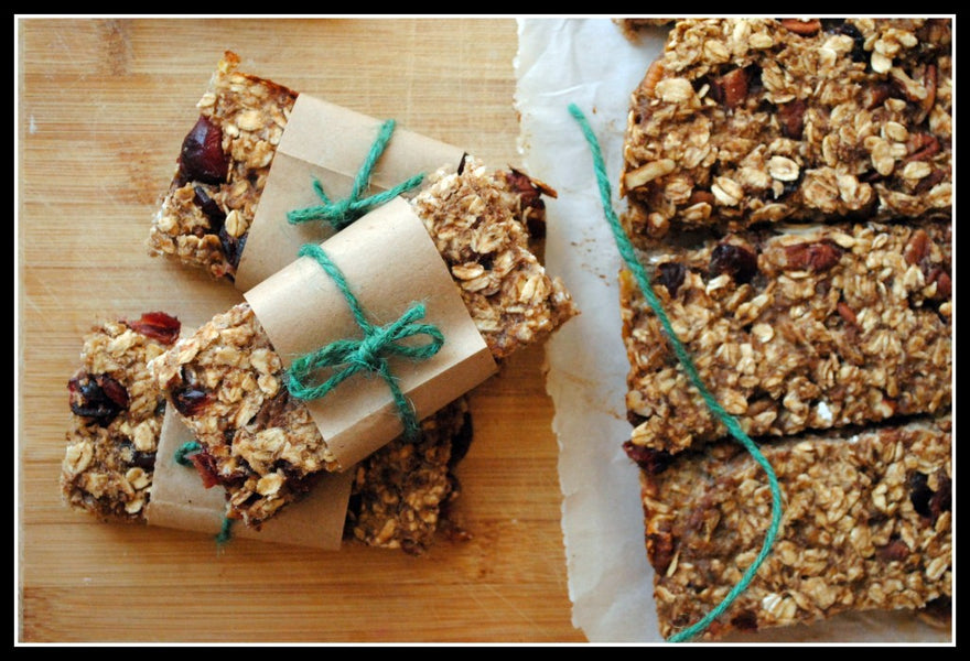 Healthy Granola Bars with Cranberries and Pecans