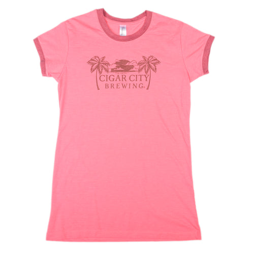 Ladies Palm Tree Ringer Tee