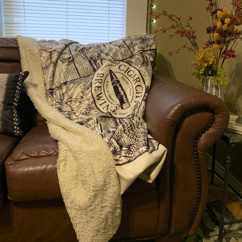 Sherpa Lined Throw Blanket