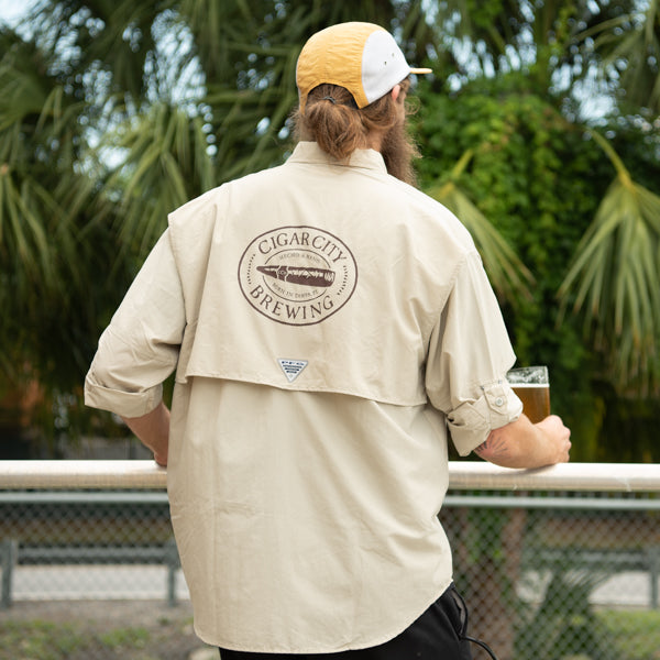 Back view of Columbia Bahama shirt in khaki