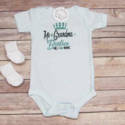 Infant Bodysuit: Me + Grandma = Besties with Teal Glitter-Baby Onesie-Heaven Invading Earth, LLC