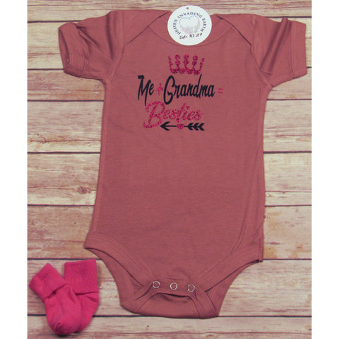 Infant Bodysuit: Me + Grandma = Besties-Baby Onesie-Heaven Invading Earth, LLC