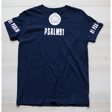 Psalm 91 Boys Navy Blue Tee-Heaven Invading Earth, LLC