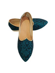 Jade Green Brocade Printed Shoes