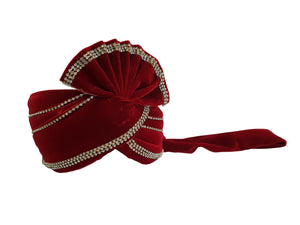 Dark Red Velvet Turban