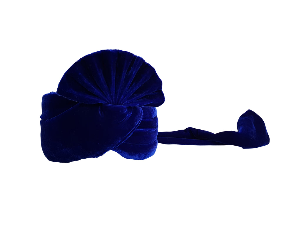 Royal Blue Velvet Turban (Plain)