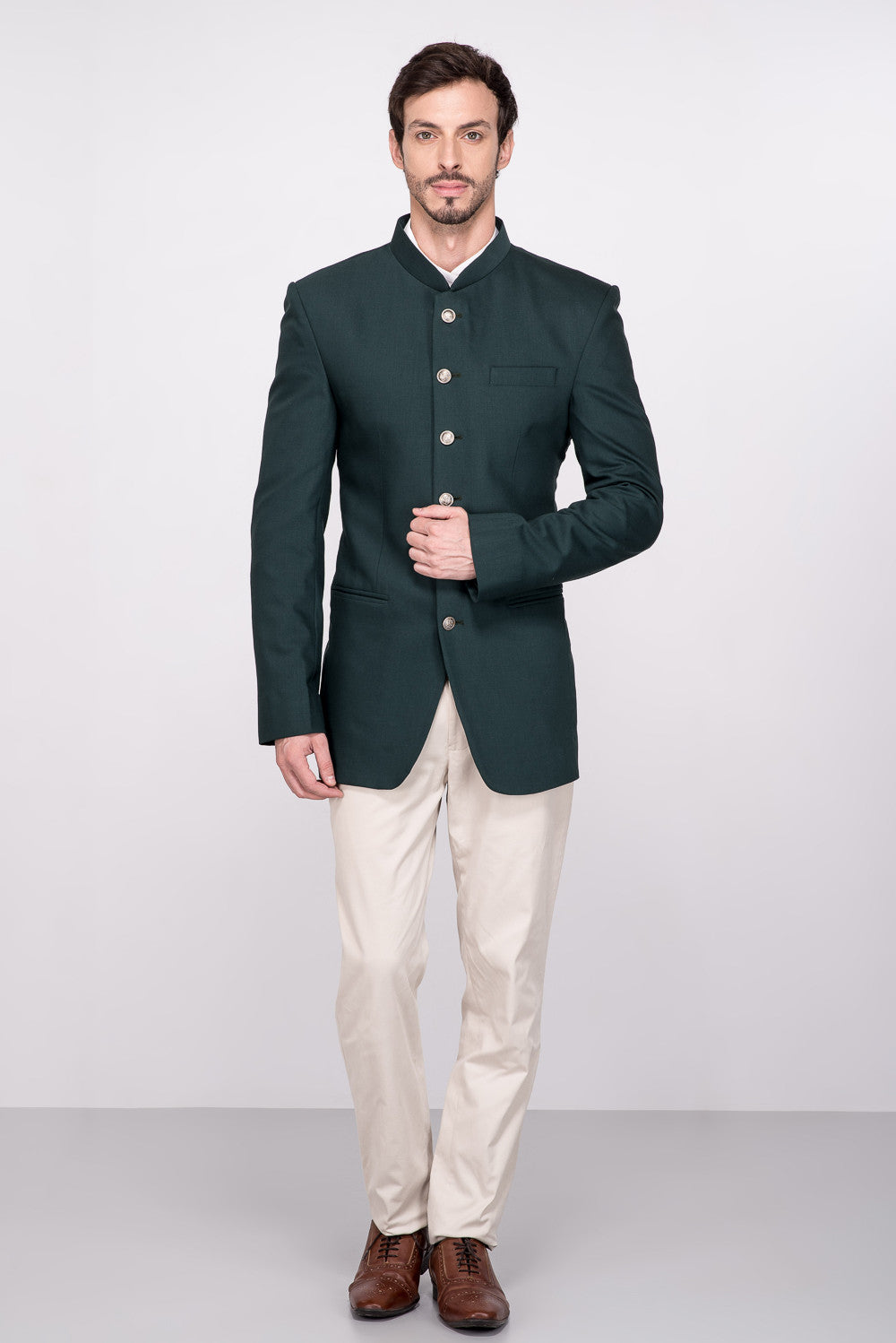 Green Raw Silk Jodhpuri