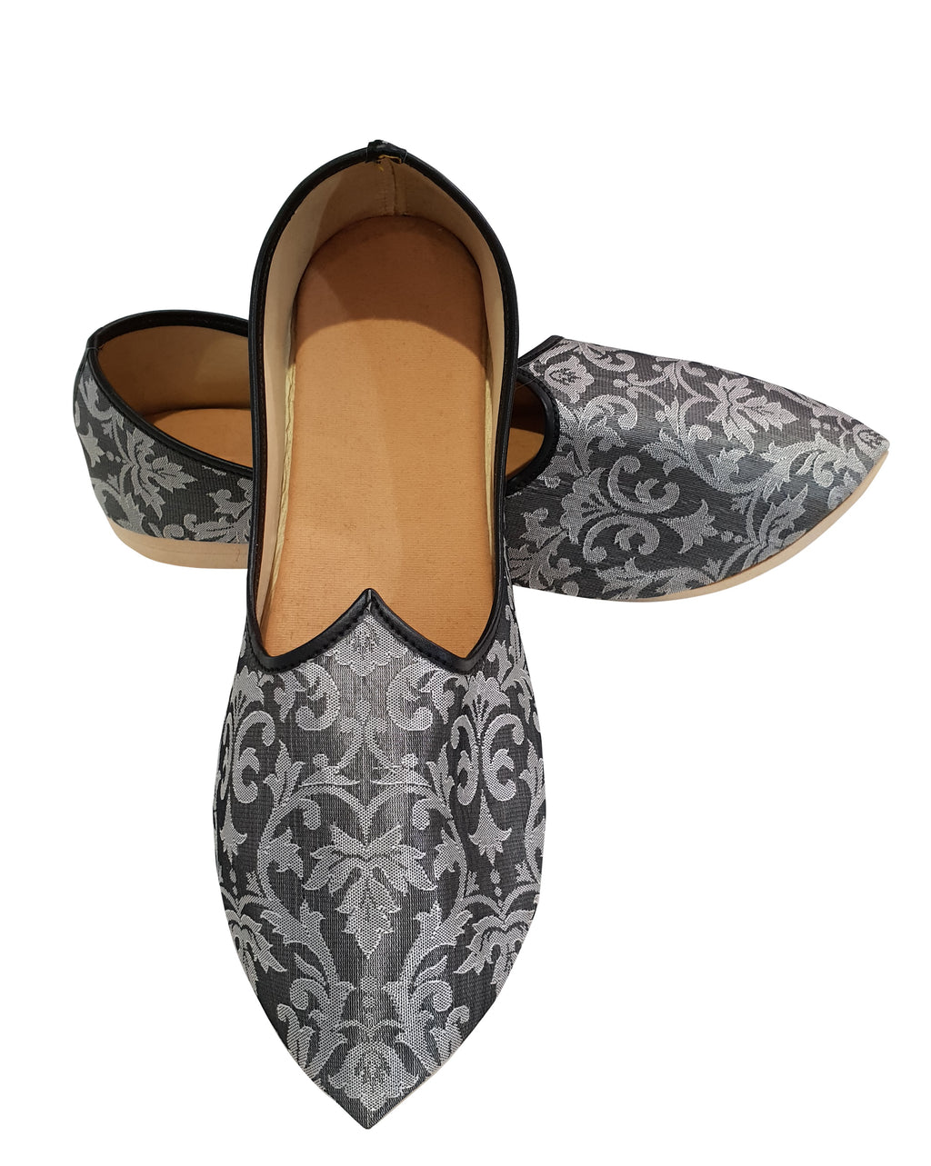 Grey Brocade Printed Shoes