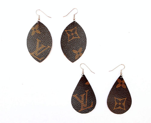 Monogram Style Canvas Earrings, Designer Fashion Luxury Print