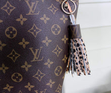 upcycled LV keychain purse charm, leather tassel keychain