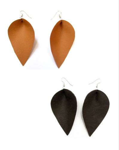 Extra Large Leather Petal Earrings, Tan or Black