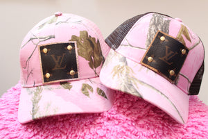 LV Monogram Style Trucker Hats, Custom Ladies Baseball Cap, Pink Camo